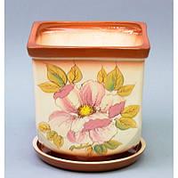 """Вазон керамический для цветов """"Квадрат"""" VS/KWM, малый, размер 18х19х12 см, вазон для комнатных растений, горшок для растений"""