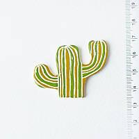 Брошь керамическая авторский дизайн ручная роспись кактус