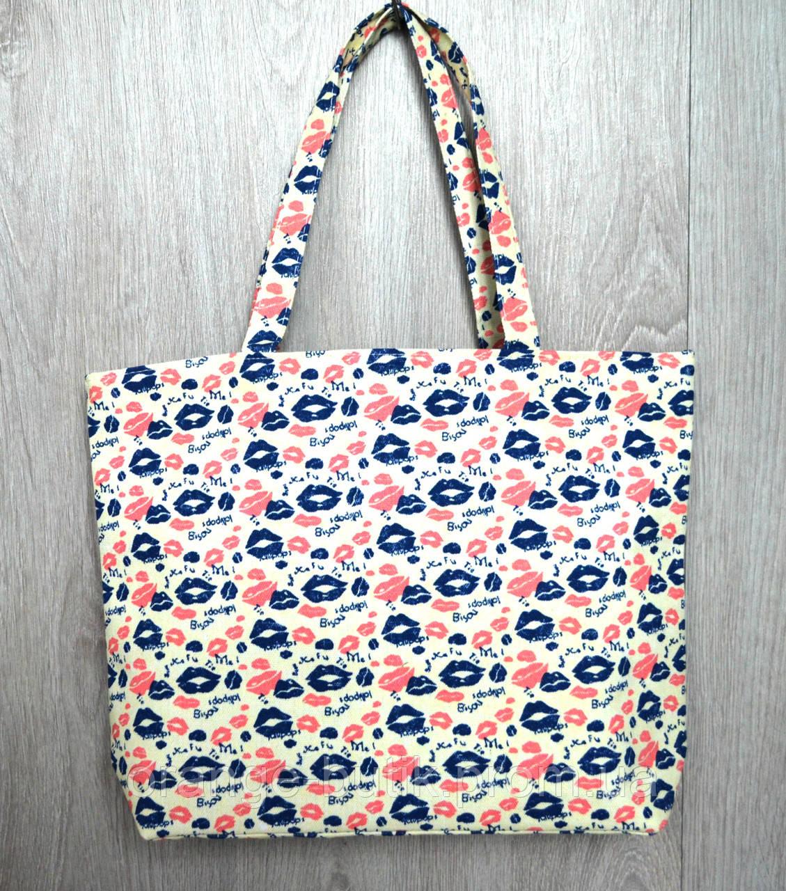 609f88310760 Пляжная, городская сумка с принтом поцелуйчики - Интернет-магазин