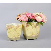 """Комплект вазонов для цветов """"Винтаж"""" F5034, в наборе 2 шт, металл, вазон для комнатных растений, горшок для растений"""