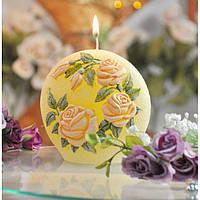 """Свеча - диск """"Садовая роза"""" SW063, высота - 130 мм, вес - 480 гр, свадебные аксессуары, декор для свадьбы, аксессуары для свадьбы"""