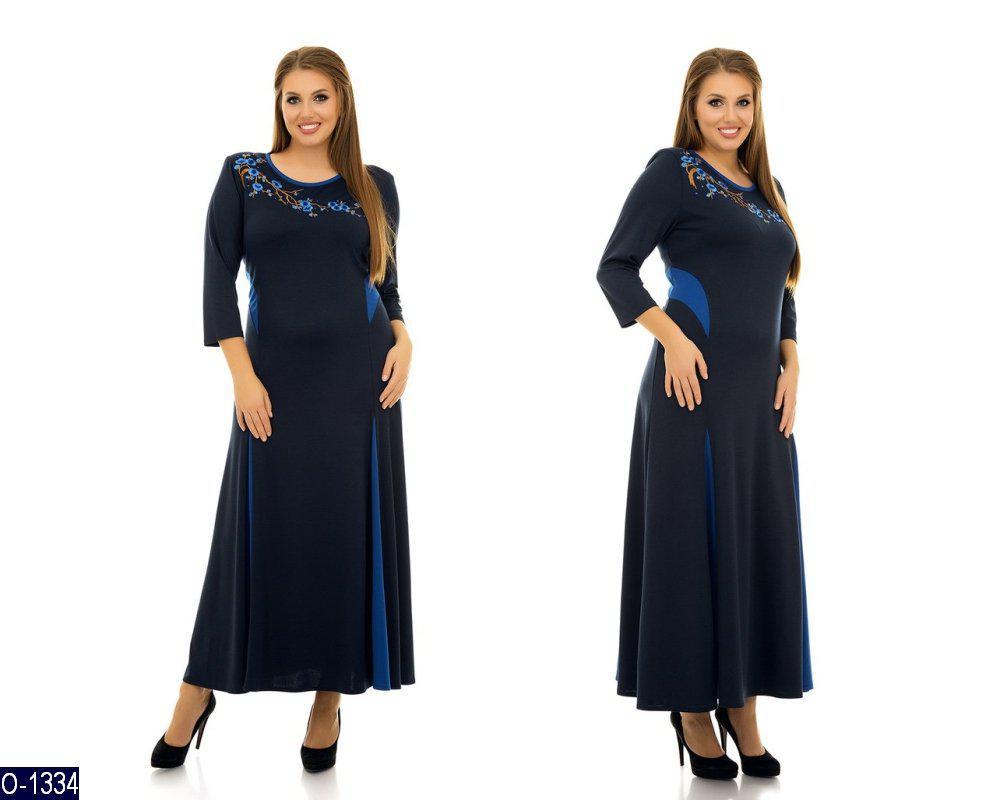 2d82c7ab9db Длинное трикотажное платье с цветами на груди - Интернет-магазин