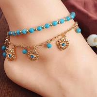 Поддельный Turquoise цветка Rhinestone шарма ножные Золотой