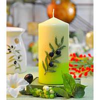 """Свеча свадебная для праздника """"Olive"""" S192, в форме цилиндра, размер 70х150 мм, свадебные аксессуары, декор для свадьбы, аксессуары для свадьбы"""