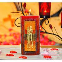 """Свеча праздничная для влюбленных """"Verona"""" S546,01, размер 70х140 мм, парафин / стеорин, свеча для праздника, подарочная свеча"""