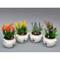"""Композиция цветочная для декора """"Home"""" SU268, размер 20x13 см, в вазоне, 4 вида, декоративный цветок, искусственное растение"""