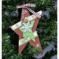 """Подвеска на елку """"Звезда со снежинкой"""" KSN196, 9.5*27 см, дерево, коричневый, Новогодние сувениры, Украшения новогодние, Игрушки на елку"""