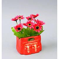 """Композиция цветочная для декора """"Ромашка"""" SU307, размер 17x13 см, в вазоне, 4 вида, декоративный цветок, искусственное растение"""