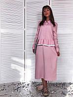 Платье Льняное платье оверсайз с оборкой на талии 139  (ФИЛ)