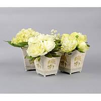 """Комплект вазонов для цветов """"Прованс"""" F5202, в наборе 3 шт, 3 вида, металл, вазон для комнатных растений, горшок для растений"""