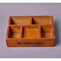 """Шкатулка деревянная для хранения мелочей """"Blueberries"""" FF9019, размер 5x22x17см, шкатулка для мелких вещей, шкатулка под украшения, шкатулка из дерева"""