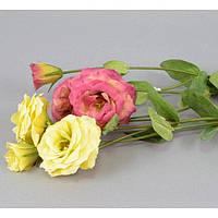 """Композиция цветочная для декора """"Эустома"""" SU6803, размер 65х12 см, декоративный цветок, искусственное растение, букет искусственных цветов"""