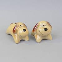 """Комплект копилок для декора """"Собака"""" SB869, керамика, в наборе 2 штуки, 9х14х7 см / 9х11х7 см, статуэтка декоративная, фигурка для дома"""