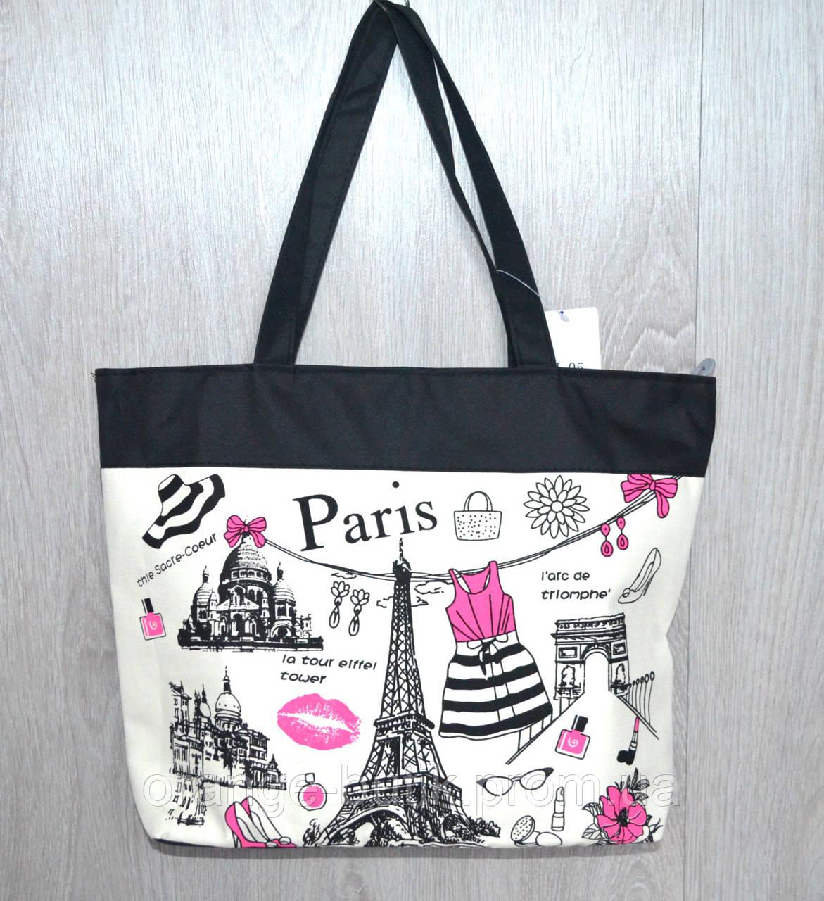 0f09ca8a68a4 Пляжная, городская сумка с милым принтом Парижа - Интернет-магазин