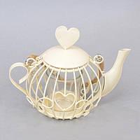 """Подсвечник подвесной для свечей """"Чайник"""" FA719, белый, металл, 12х17х10 см, подставка для свечи, подсвечник для декора, декор-подсвечник"""