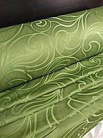 Жаккардовая портьерная ткань зеленого цвета для зала и спальни, фото 1