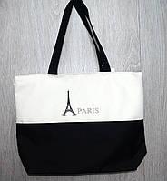 Стильная пляжная, городская сумка черно-белая