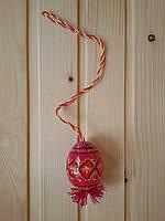 Деревянные пасхальные писанки 6х4.5 см на ниточке, подпоясанные, розовые