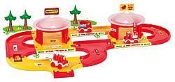 Гараж детский Пожарная команда Kid Cars 3D, игровой набор с дорогой 3,1 метра Wader