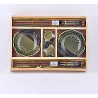 """Набор посуды для суши """"California"""" A0009, размер 24х17 см, в комплекте 6 предметов, материал керамика / дерево, в коробке, набор аксессуаров для суши"""
