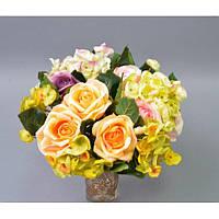 """Композиция цветочная для декора """"Роза - гортензия"""" SUB020, размер 20х18 см, декоративный цветок, искусственное растение, букет искусственных цветов"""