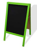 Штендер меловой двухсторонний 100х60 см, цветная деревянная рама