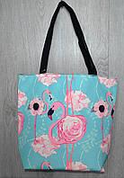 Стильная пляжная, городская сумка с принтом розовый фламинго