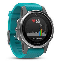 Смарт часы Garmin Fenix 5S - Silver with turquoise band