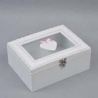 """Шкатулка деревянная для мелочей """"Сердце"""" PR18, размер 8х20х15 см, шкатулка для драгоценностей, шкатулка для украшений"""