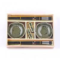 """Набор посуды для суши """"Sakura"""" A0013, размер 24х17 см, в комплекте 6 предметов, материал керамика / дерево, в коробке, набор аксессуаров для суши"""