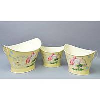 """Комплект вазонов для цветов """"Прованс"""" F5201, в наборе 3 шт, 2 вида, металл, вазон для комнатных растений, горшок для растений"""