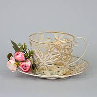 """Декор металлический для дома """"Cup"""" CH357, размер 10х19 см, декоративное украшение, украшение для праздника"""