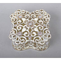 """Шкатулка металлическая для украшений """"Jewellery"""" ZB119, размер 8х8 см, мельхиор, шкатулка для драгоценностей, шкатулка для мелочей"""