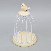 """Подсвечник - клетка декоративный для свечей """"Птичка"""" ZG17, металл / керамика, 25х15 см, подставка для свечи, подсвечник для декора, декор-подсвечник"""