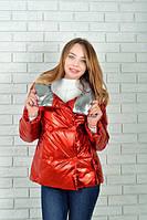 Женская демисезонная куртка (арт 1001) цвет коралл + серебро