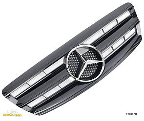 Решетка радиатора Mercedes W220 рестайл стиль AMG (черный глянц + хром звезда)
