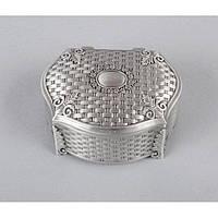 """Шкатулка металлическая для украшений """"Gio"""" M2880, размер 12х9х5 см, мельхиор, шкатулка для драгоценностей, шкатулка для мелочей"""