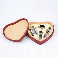 """Набор винный для сомелье """"HeartWine"""" FT5288, размеры 6х19х17 см, в комплекте 4 аксессуара, в коробке, набор для вина, подарочный набор"""