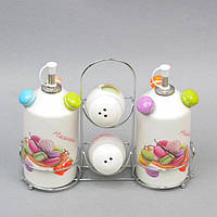 """Набор для хранения специй """"Macarons"""" ZL715, с подставкой, в комплекте емкости для масла, керамика, комплект для специй, емкость для специй"""