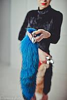 Синяя анальная пробка хвост лисы металлическая, плаг, втулка, затычка, анальная игрушка