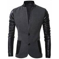 Стильный мужской пиджак на двух пуговицах из сочетания шерстяной ткани с кожаными вставками