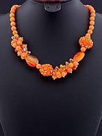 Бусы оранжевый Коралл натуральный пушистый