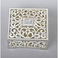 "Шкатулка металлическая для украшений ""Jewellery"" ZB97, размер 3х8х8 см, мельхиор, шкатулка для драгоценностей, шкатулка для мелочей"