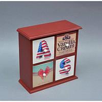 """Шкатулка деревянная для хранения мелочей """"America Vibe"""" PR058, комодик на 4 ящика, размер 24x24x11 см, шкатулка под украшения, шкатулка из дерева"""