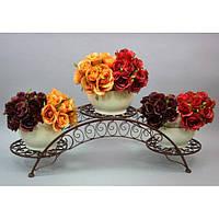 Подставка под цветы HX048, материал - металл, размер - 23*77*24 см, изделия из ротанга и металла, декор для дома, декор для сада