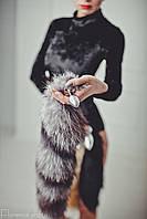 Анальная пробка хвост лисы чернобурки металлическая, плаг, втулка, затычка, анальная игрушка