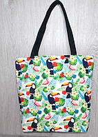 Пляжная, городская сумка с ярким принтом какаду