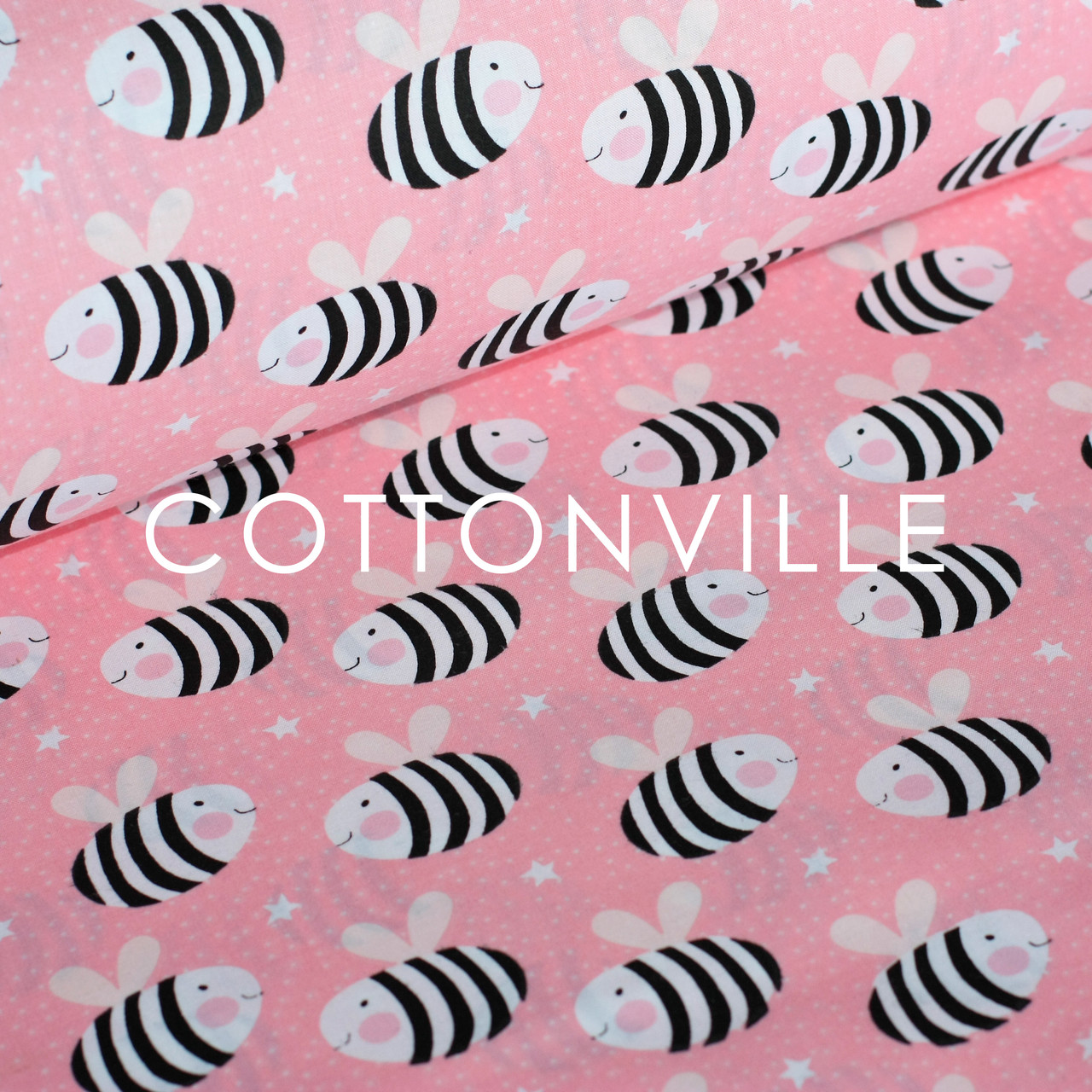✁ Отрезы хлопковой ткани Пчелки на розовом