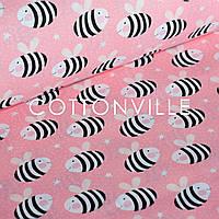 ✁ Отрезы хлопковой ткани Пчелки на розовом, фото 1