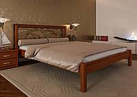 Кровать деревянная полуторная Модерн с кованным изголовьем